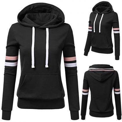 Long Sleeve Women Striped Hooded Pu..