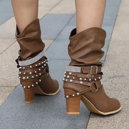 Buckle Rivet Block Heels Boots Bike..