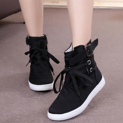 Womens Casual Sneakers Buckle Strap..