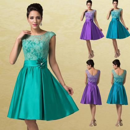 Retro Sexy Teal Satin Cocktail Dres..