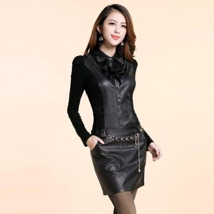 Women Slim Faux Leather Patchwork S..