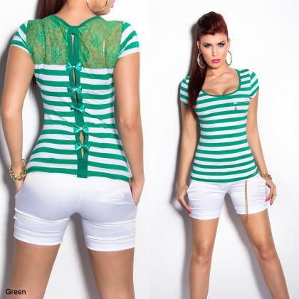 Women's Striped Short Sleeve Top wi..