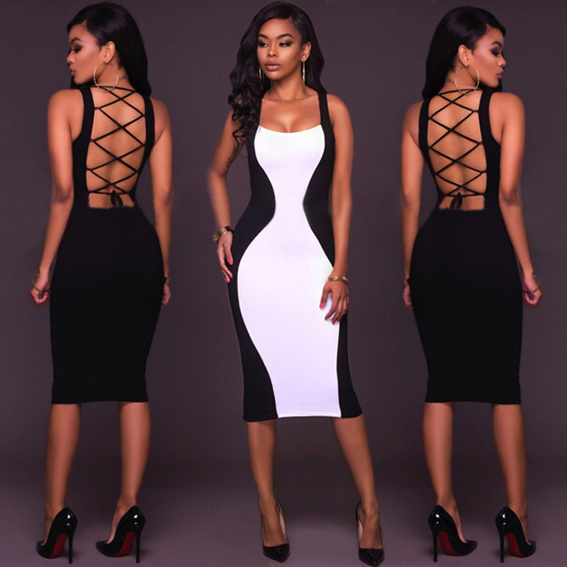 Womens Bandage Bodycon Sleeveless Evening Party Cocktail Club Short Mini Dress Women's Dresses Party Women