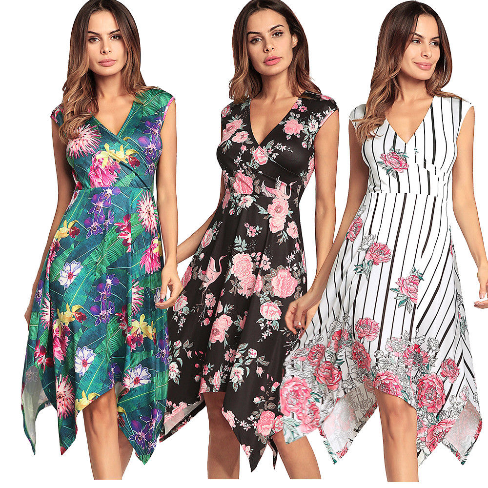6bbf2eaf6952 Summer Boho Floral Long Maxi Evening Cocktail Party Beach Dress Sundress