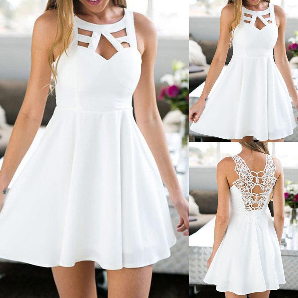 Womens Back Lace Swing Skater Dress Sleeveless Evening Party Beach Mini Sundress