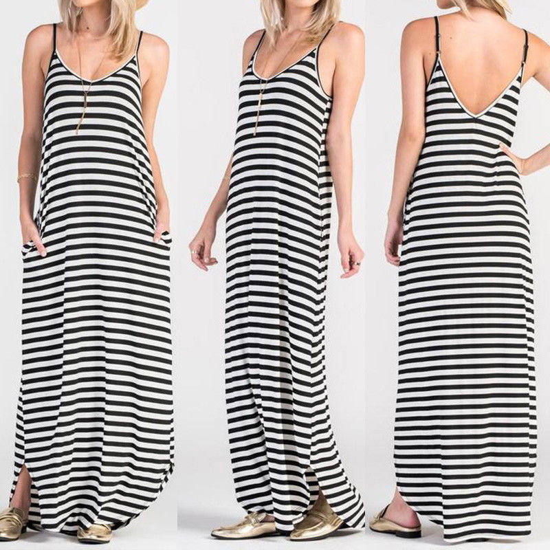 Women's Sleeveless Strappy Long Maxi Dress Backless Summer Beach Sundress