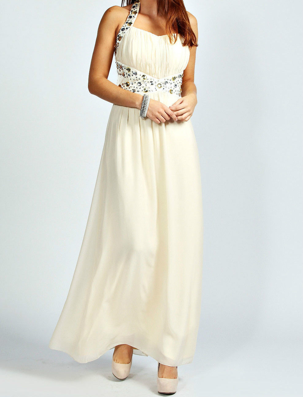 Embellished Bridesmaid Evening Party Prom Draped Gown ball