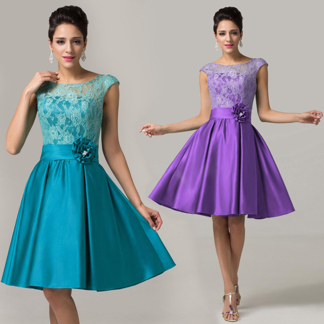 Retro Sexy Teal Satin Cocktail Dresses Party Prom Rockabilly Homecoming Dresses