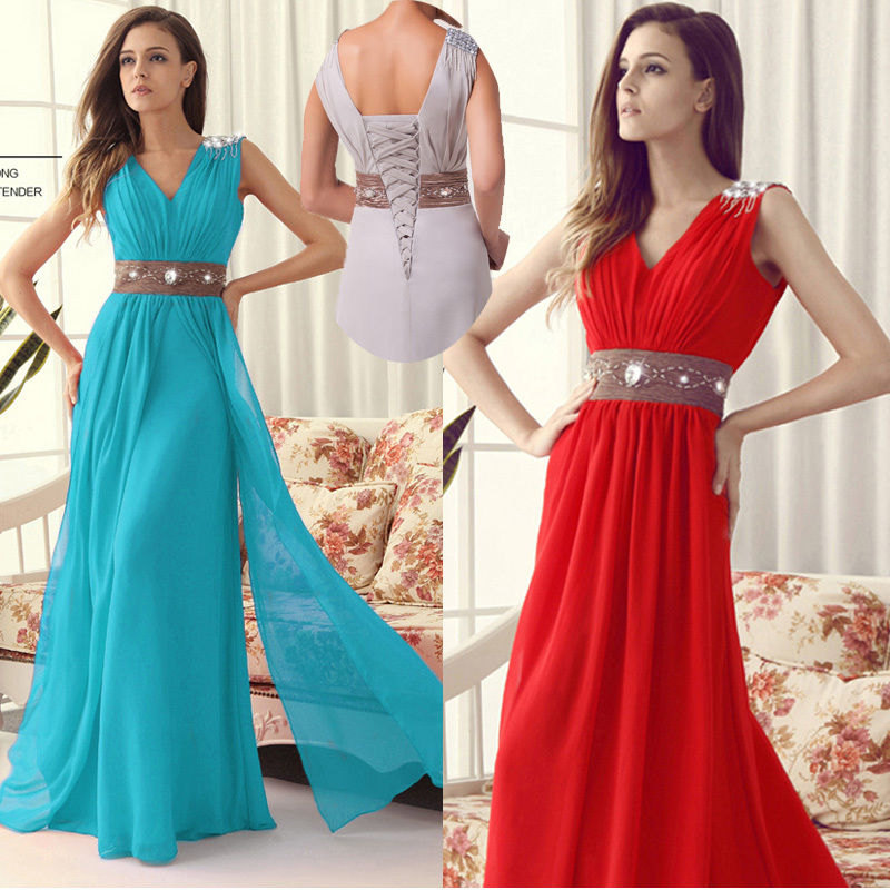 Sexy Formal Red Chiffon Evening Ball Cocktail Prom WEDDING Bridesmaid Dress Gown
