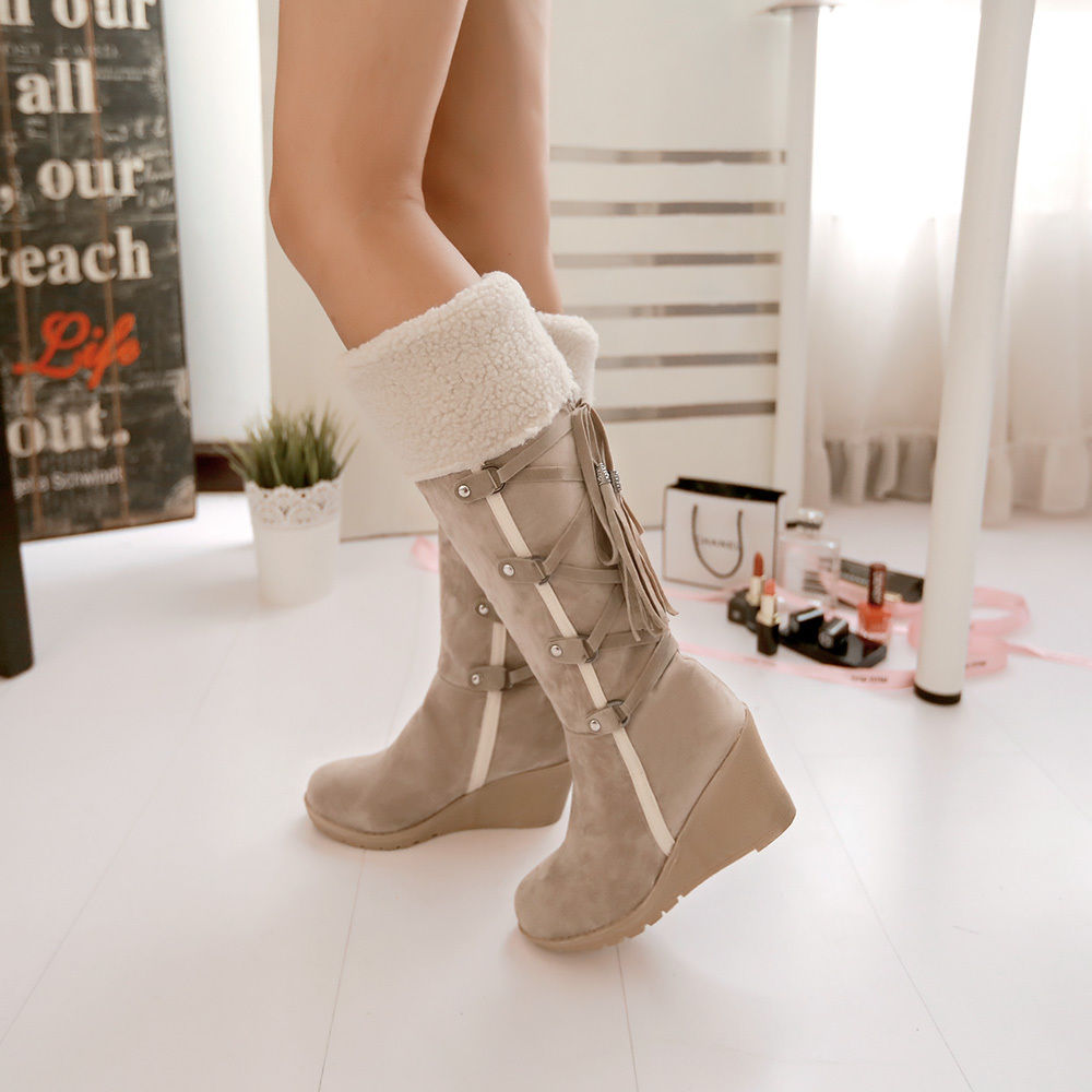 b0569a5e0973 Faux Lambswool Winter Knee Boots Wedge Women's Shoes Lace Up Faux Suede  Fringe
