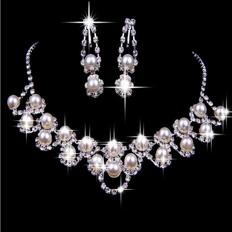 Rhinestone Crystal Pearl Necklace Earring Plated Jewelry Set For Wedding Bridal