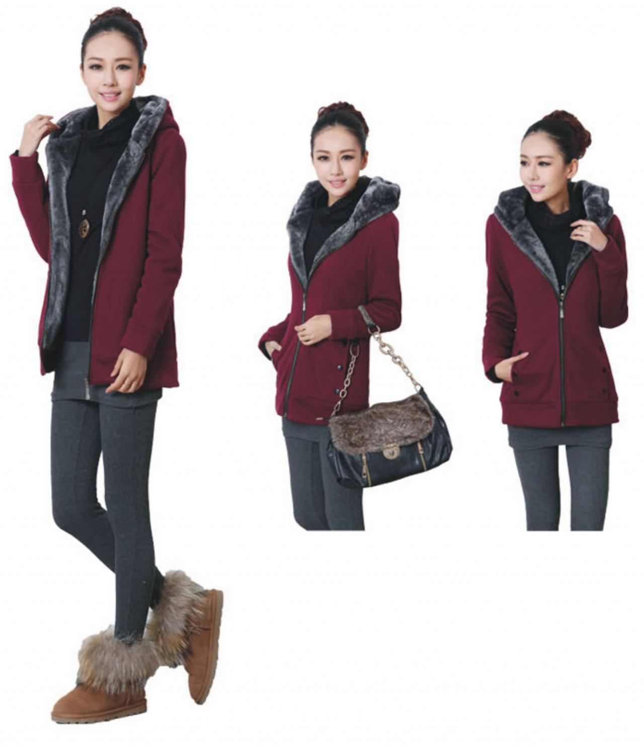 Women's Fashion Thicken Warm Hoodie Casual Slim Fleece Winter Hooded Coat Jacket