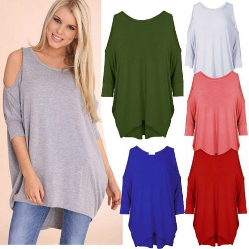 750347d2d10fbb Womens Ladies Oversized Baggy Loose Fit Cold Shoulder Batwing Top Shirt