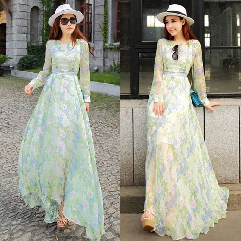 New Women Summer Sexy Long Sleeve Evening Party Cocktail Maxi Long ...
