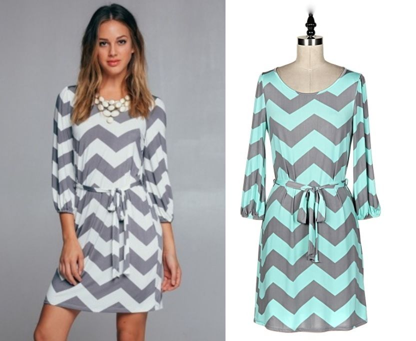 7258d6b4069 Gray and White/Mint Chevron Print Tunic Dress Tie Waist Mid Length 3/4  Sleeves
