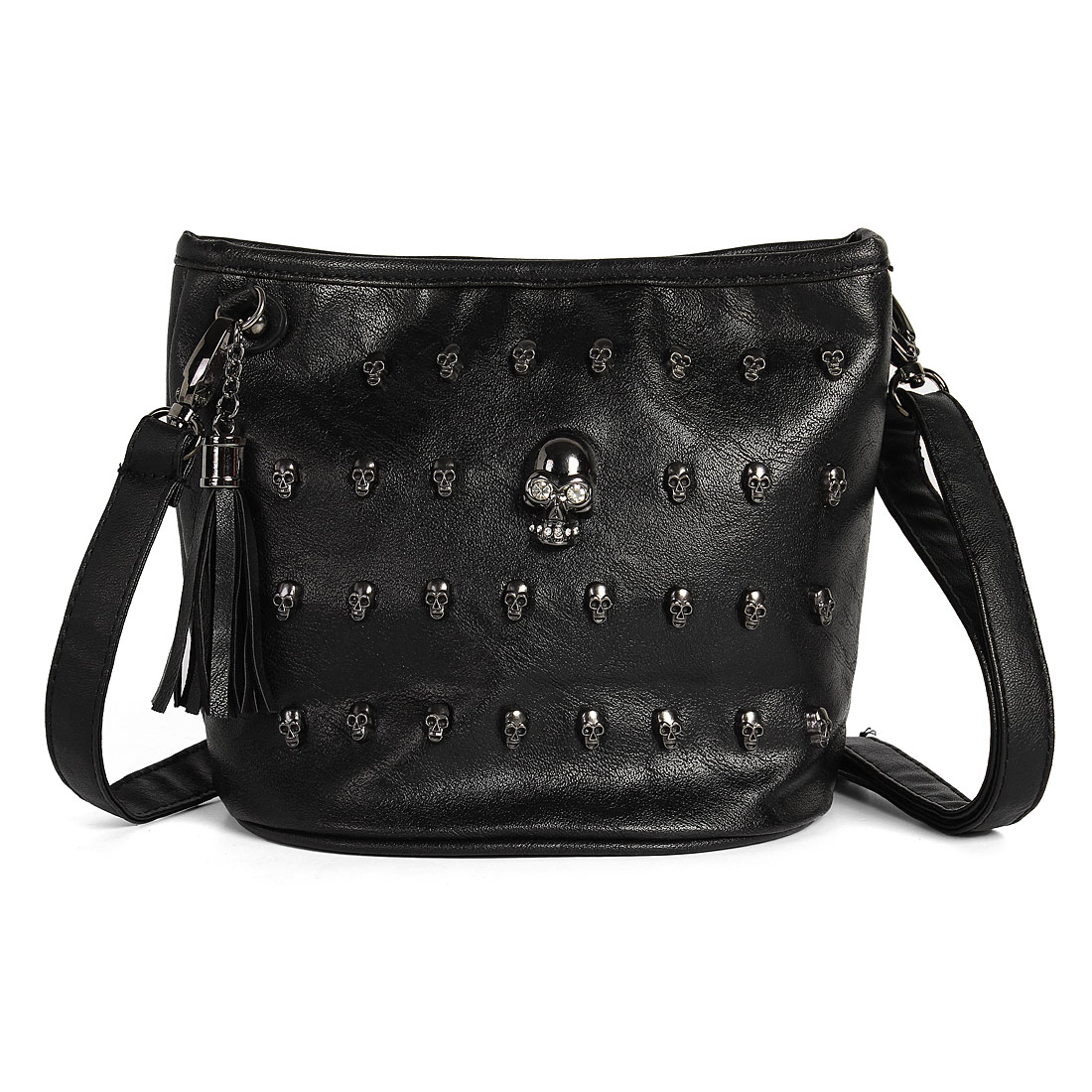 Skull Studs Cool Punk Leather Goth Tassels Messenger Shoulder Tote Handbag Bag