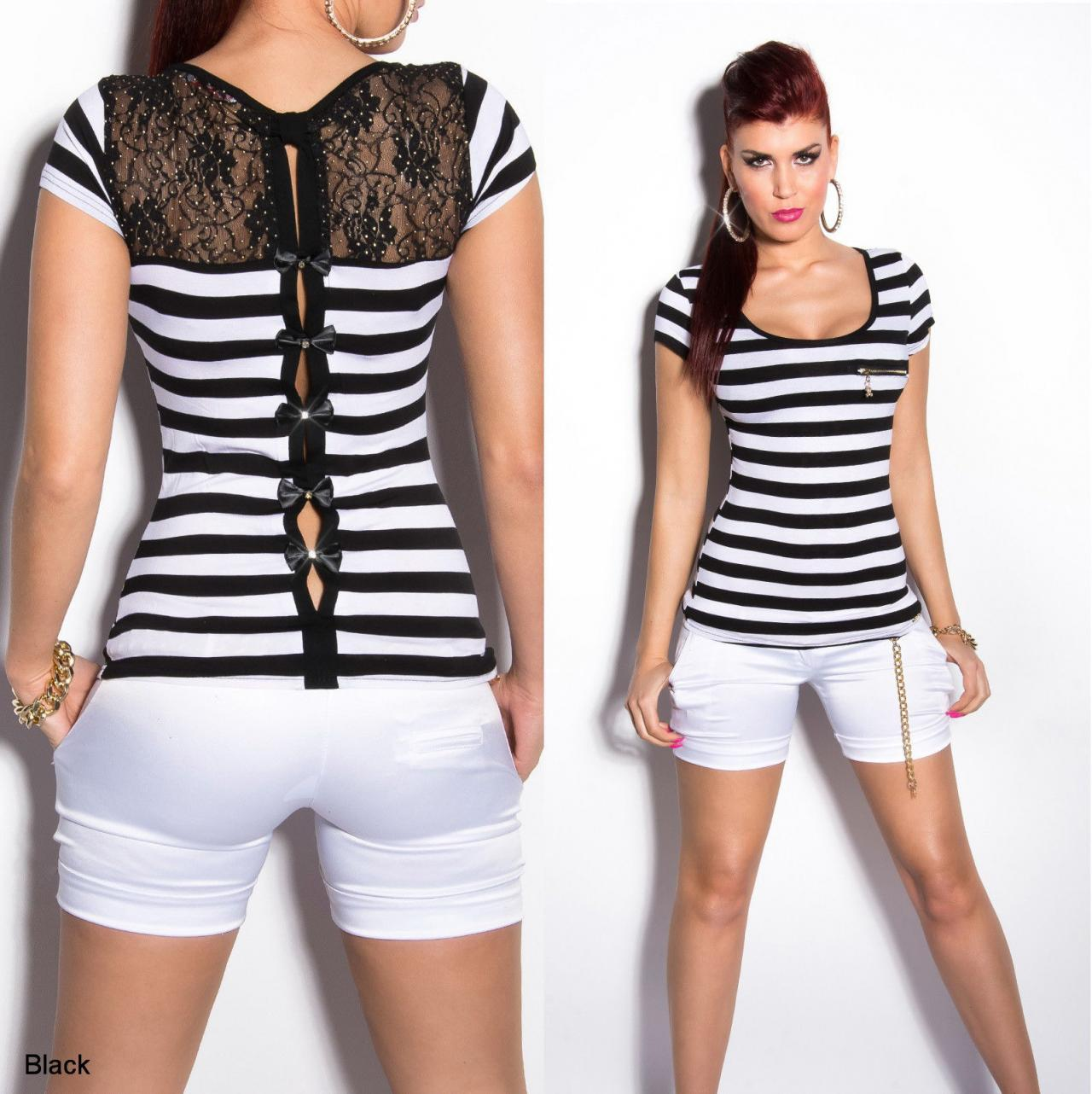 Women's Striped Short Sleeve Top with Bows - S/M, M/L
