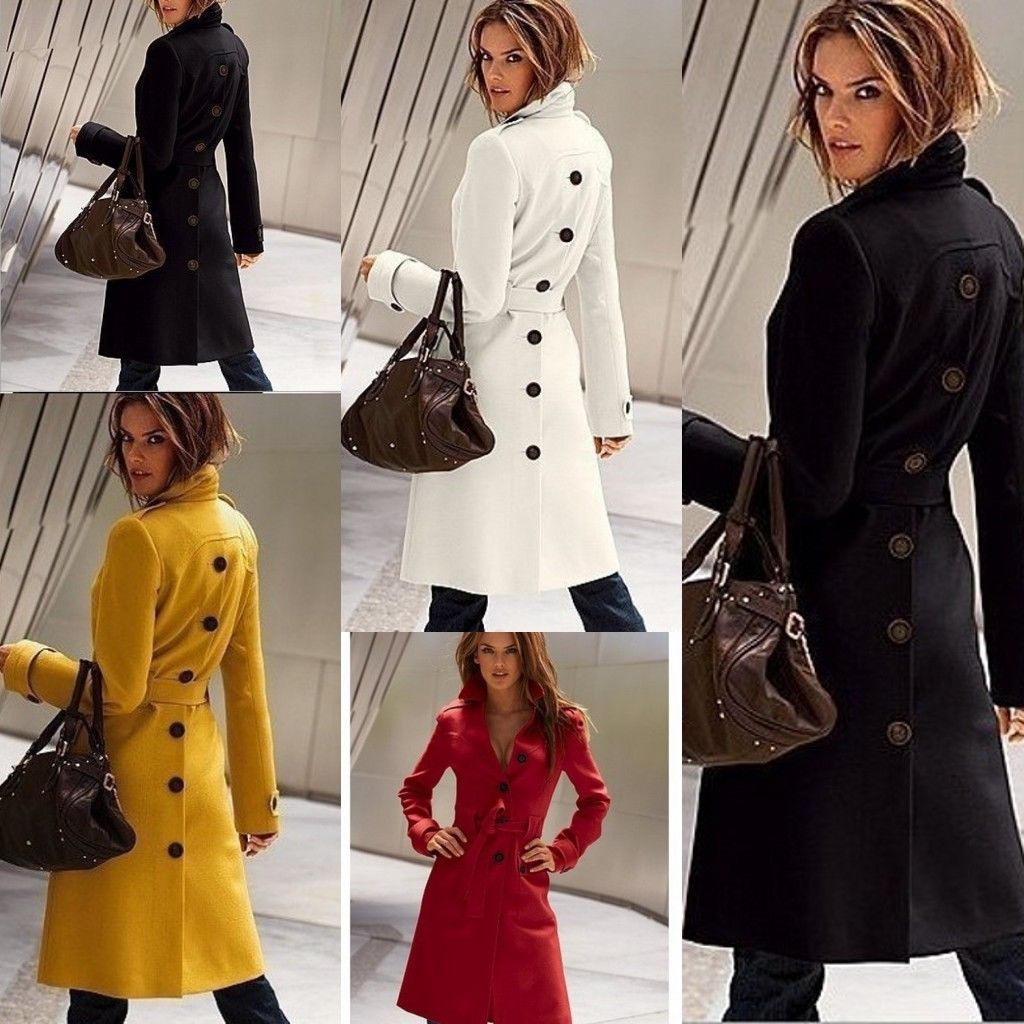 Fashion Women Winter Warm Wool Long Sleeve Slim Fit Trench Coat Outwear Jacket