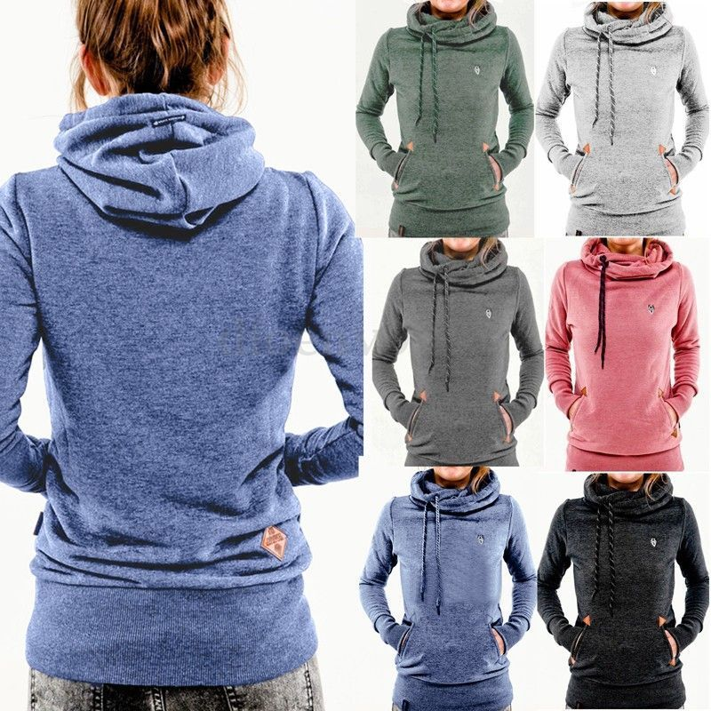 Women Pocket Hoody Hoodie Long Sleeve Hooded Sweatshirt Pullover ...