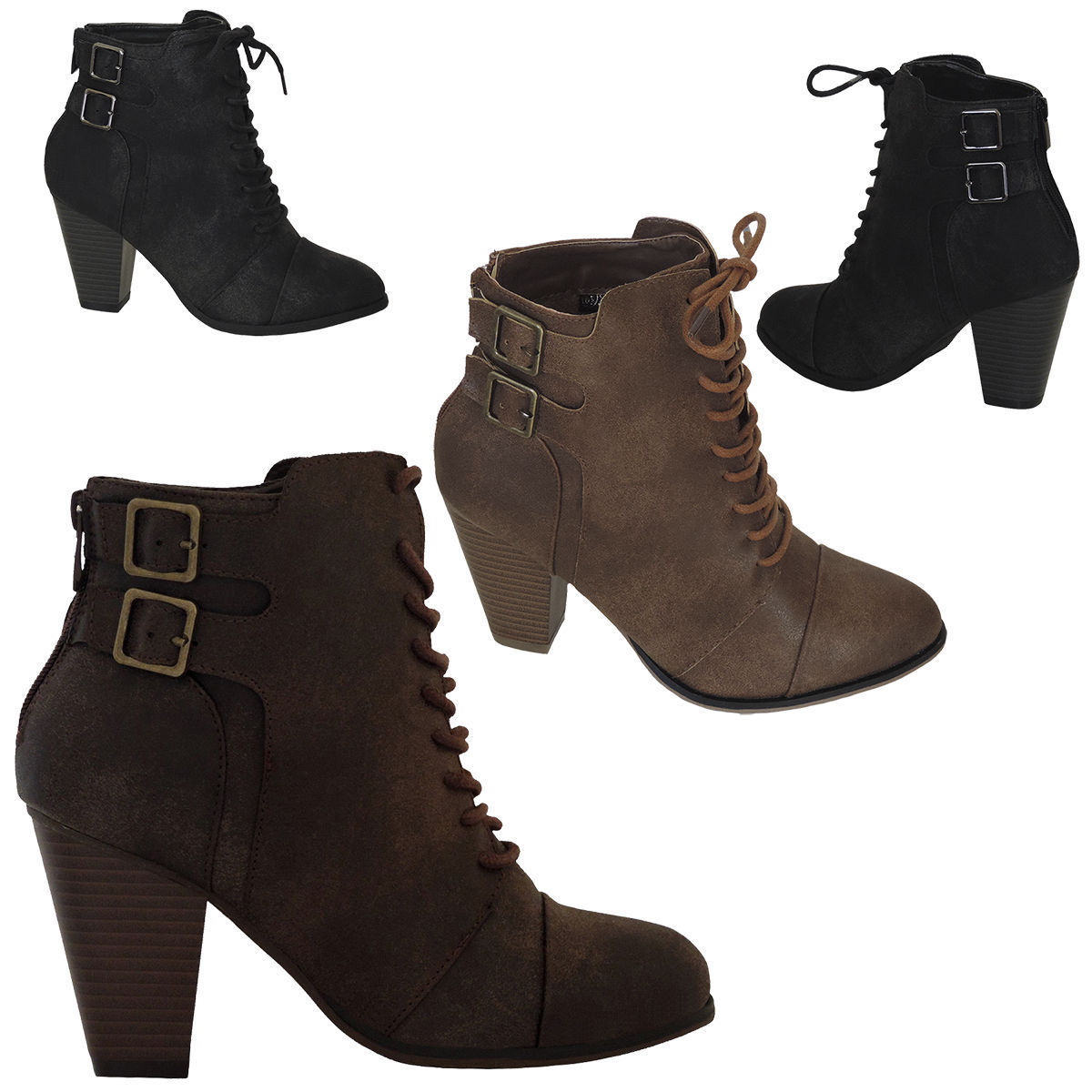 7e8610ae889e Womens High Heels Booties Ankle Boots Lace Up fashion low Shoes Wedge Size  Pumps