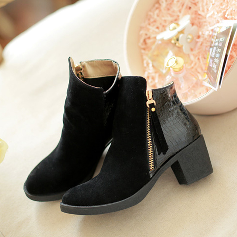 Womens Winter Ankle Boots High Heels Platform Riding Stylish Shoes