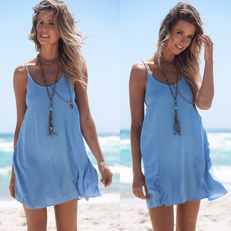12abd8db65 Women Sexy Summer Casual Sleeveless Evening Party Beach Dress Short Mini  Dress
