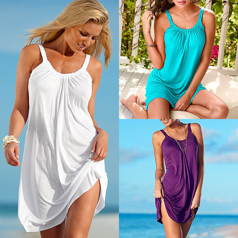 3c57552ae80f Women s Summer Casual Sleeveless Evening Party Beach Dress Short Mini Dress