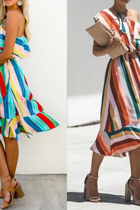 Ladies Rainbow Striped One Shoulder Summer Party Frill Beach Midi Dress