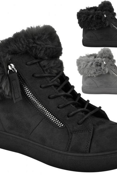 LADIES WOMENS FLAT TRAINER HI TOP FUR LINED SNEAKERS WINTER WARM SHOES
