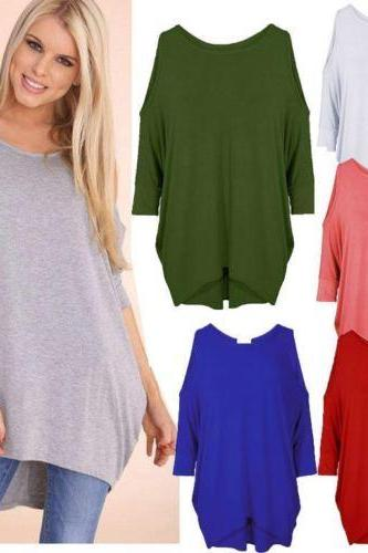 Womens Ladies Oversized Baggy Loose Fit Cold Shoulder Batwing Top Shirt