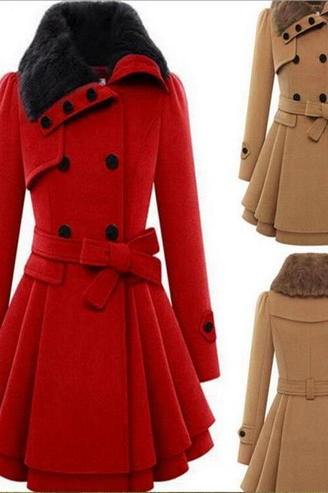 Women Woolen Thicken Warm Winter Coat Hood Parka Overcoat Long Jacket Outwear