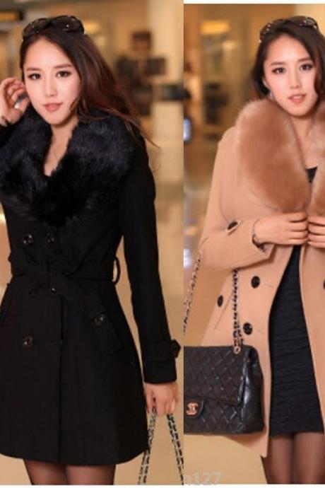 Women's wool double-breasted coat winter Slim jacket Long parkas Outwear trench