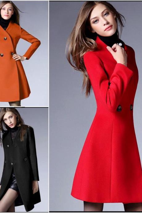 Women Casual Slim Long Sleeve Woolen Jacket Winter Long Trench Coat Jacket