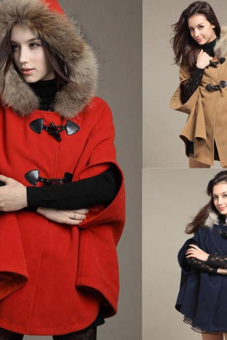 New Winter Women Wool Hooded Cap Coat Parka Hoodie Jacket Trench Coat Overcoat