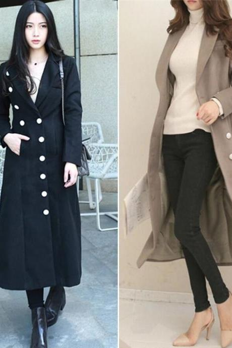 Winter Women Double-Breasted Woolen Coat Trench Slim Long Jacket Parka Outwear