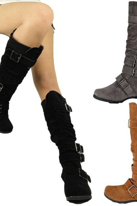 Women Flat Knee High Boots Adjustable Straps Suede Comfort Winter Black Shoes