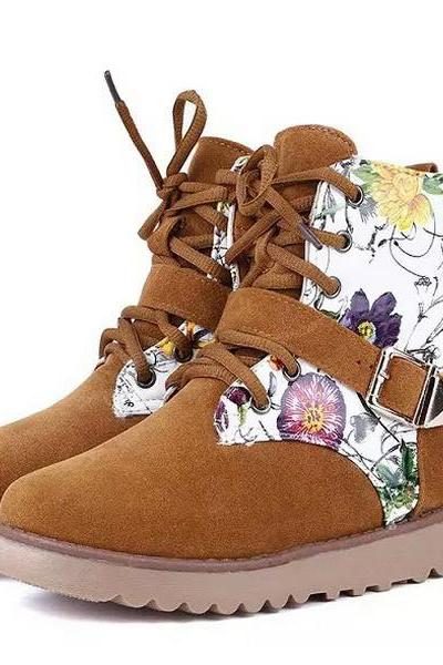 Womens Lace Ups Ankle Boots Graphic Printed Flats Round Toe Western Booties