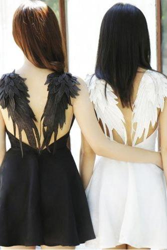BLACK DARK ANGEL MALEFICENT WINGS DRESS LOLITA GOTHIC Swan BACKLESS wedding