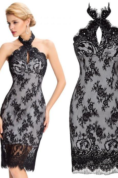 Sexy Women Backless Black Lace Short Mini Evening Prom Party Gown Cocktail Dress