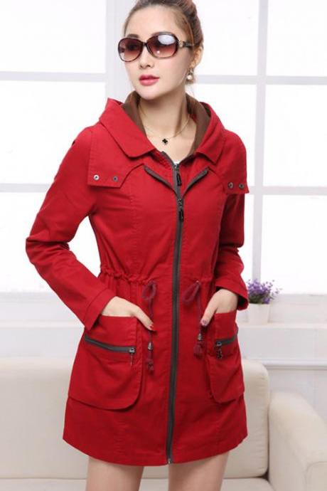 Winter Women Long Sleeve Hooded Cotton Trench Jacket Coat Outwear Parka