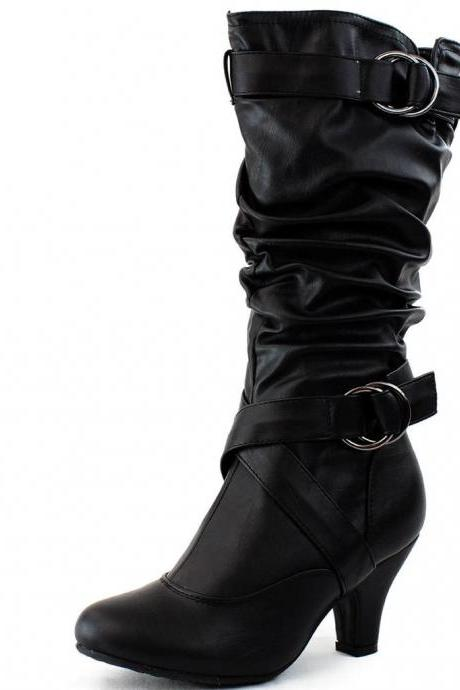 New Sexy Womens Mid Calf Faux Leather Black High Heel Boots