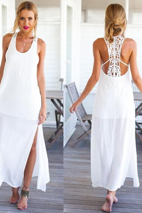Women Summer Crochet Boho Evening Party Long Maxi Beach Dress Chiffon Sundress