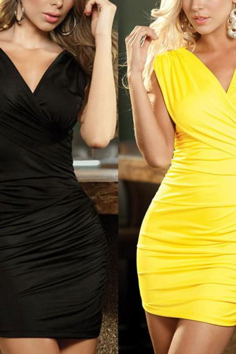 Sleeveless Dress Sexy Women Backless Bodycon V-neck Cocktail Party Nightclubwear
