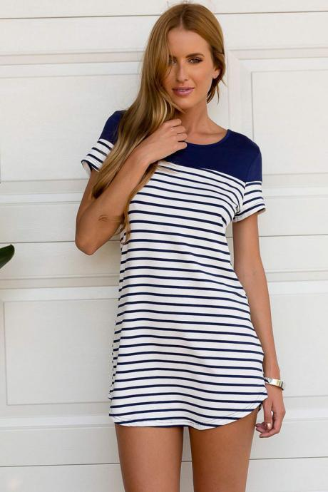 Fashion Womens Short Sleeve Striped T shirt Blouse MIni dress Short Tops