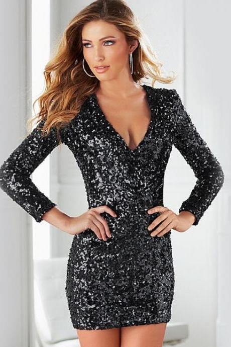 Sexy Women Sequin V-neck Long Sleeve Bodycon Evening Cocktail Mini Club Dress