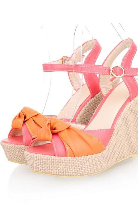 Womens Lady Wedge High Heels Shoes Peep Toe Sandals Platform Pumps