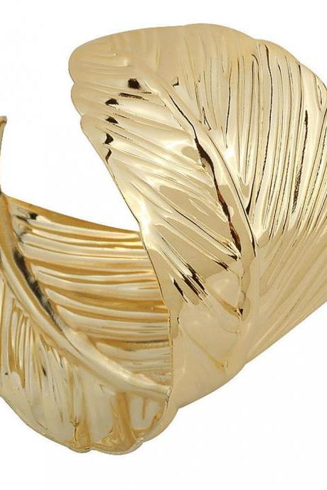Charm Leaf Shape Cuff Bracelet Bangle Gold Plated Women Gift Fashion Jewelry New