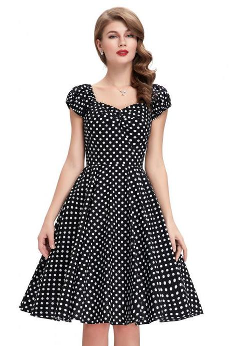 Summer Women's Vintage 50s Polka Dots Evening Party Short Retro Dresses Cocktail