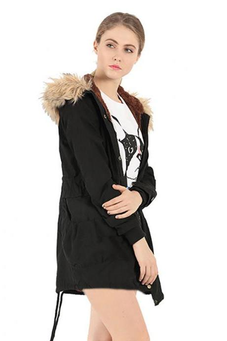 WINTER Women Warm Thicken Fur Hooded Overcoat Long Coat Jacket Outwear Parka Top