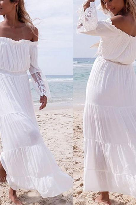Summer Boho Long Maxi Dress Evening Cocktail Party Beach Dresses Sundress